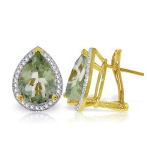 EARRING WITH DIAMONDS & GREEN AMETHYSTS